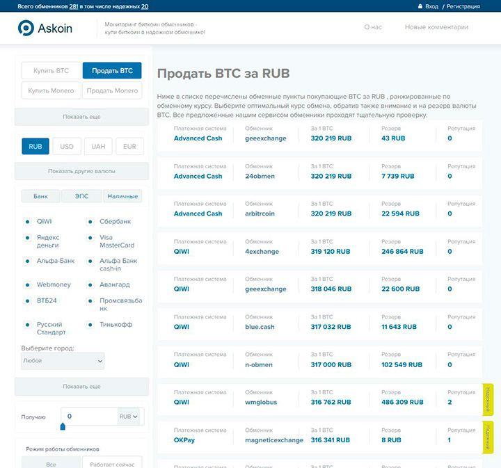 askoin.com -  мониторинг обменников