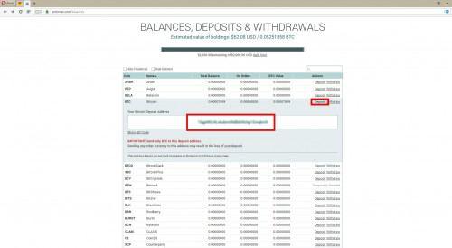 Адрес кошелька криптовалюты Биткоин в личном кабинете биржи Poloniex