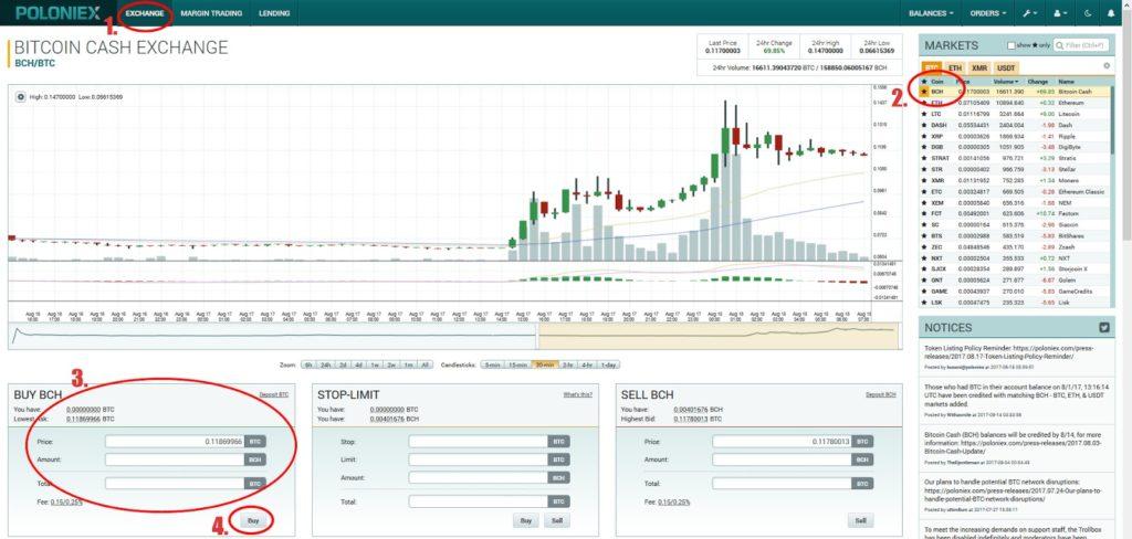 Покупка криптовалюты bitcoin Cash на бирже Poloniex