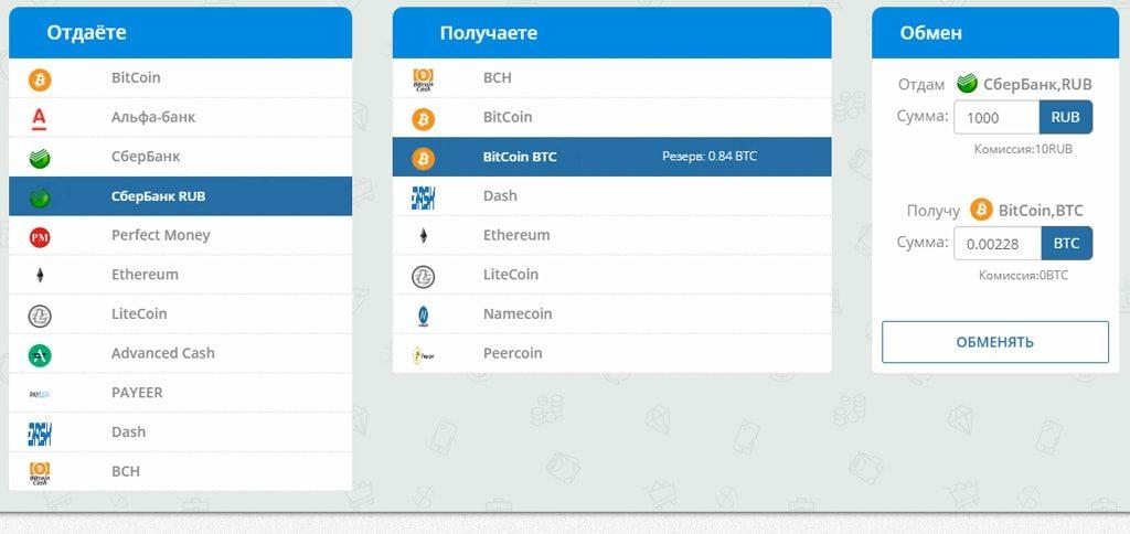 Выбор варианта оплаты и суммы для покупки желаемой криптовалюты на одном из онлайн-обменников
