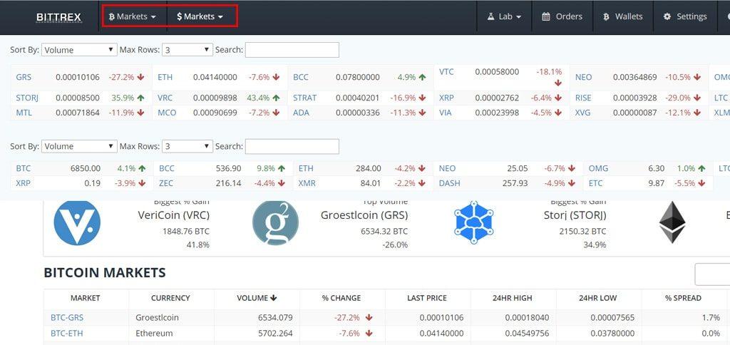 """""""Выбор желаемой криптовалюты для покупки в личном кабинете биржи Bittrex"""""""