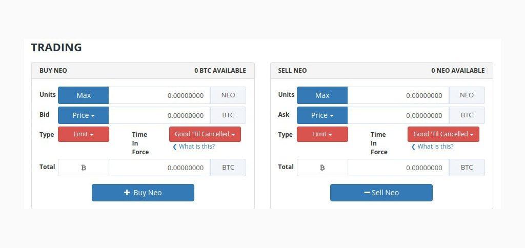 Блок создания ордеров покупки и продажи в личном кабинете на бирже Bittrex