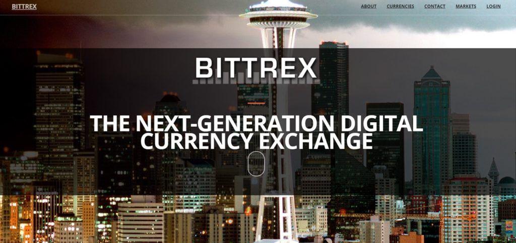 Главное окно криптовалютной биржи Bittrex