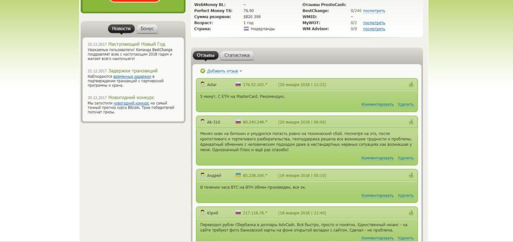 Отзывы об обменнике prostocash.com на сайте BestChange.ru