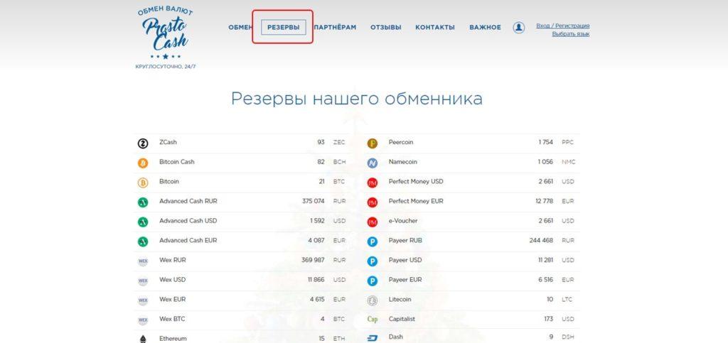 Список и сумма зарезервированных для обмена валют на обменнике prostocash.com