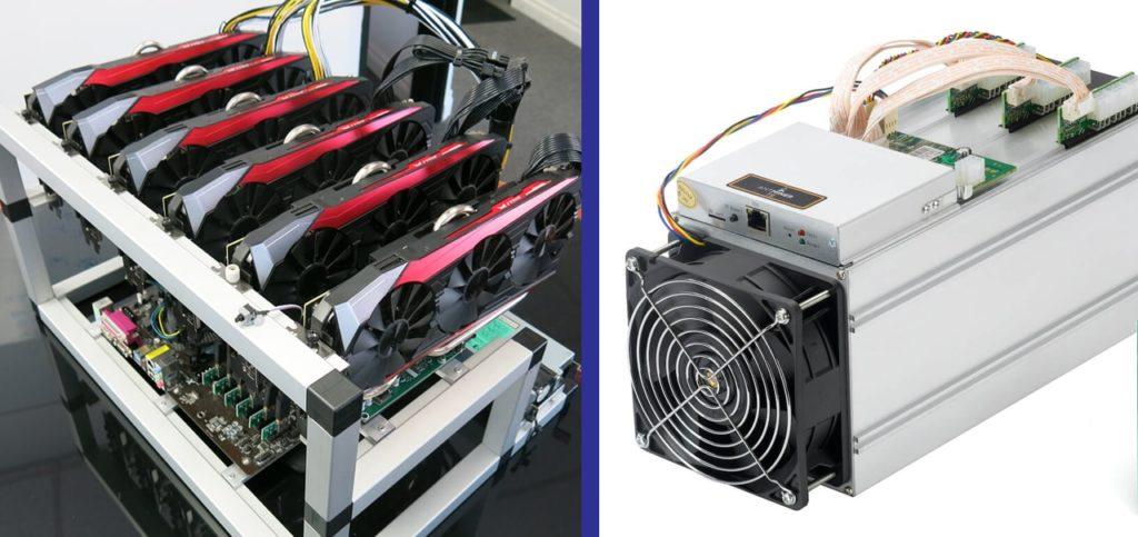 Оборудование для добычи криптовлаюты: Майнинг-ферма, собранная из компьютерных видеоакрт (слева) и Процессор ASIC, использующийся преимущество для добычи Биткоинов (справа)