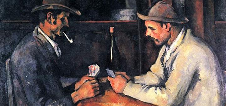 """Рисунок: """"Одна из самых дорогих из когда-либо проданных картин художника Поля Сезанна """"Картежники"""""""