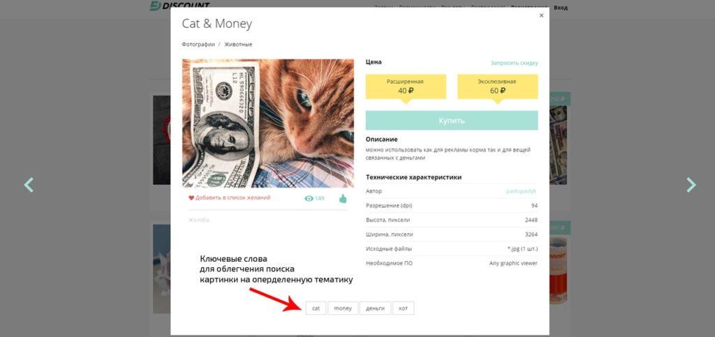 Ключевые слова, указанные продавцом фотографии для более удобного поиска картинки покупателем на сайте freelance.ru