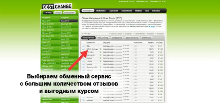Выбор обменника на BestChange для покупки Bitcoin
