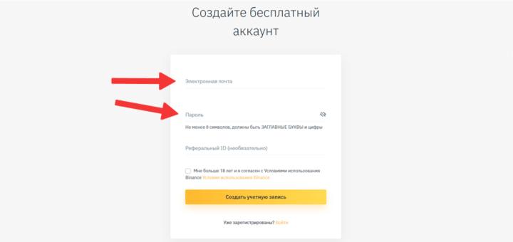 Ввод данных для регистрации на Binance