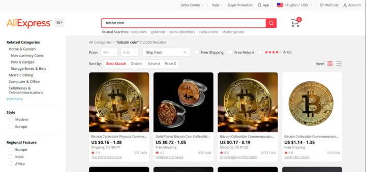 Покупка сувенирной монеты биткоин