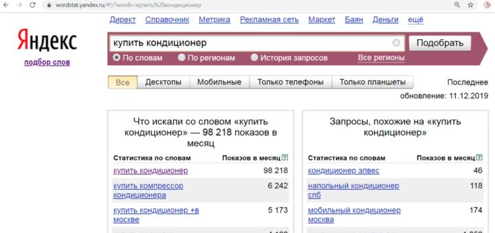 Яндекс WordStat
