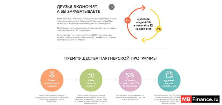 Условия партнерской программы онлайн-экомаркета 4fresh
