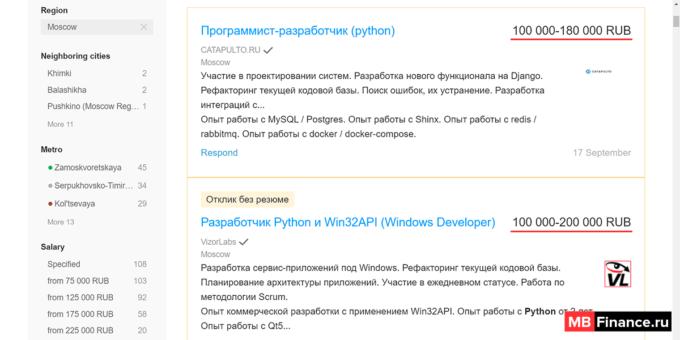 Зарплаты Python программистов